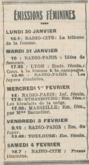 Programmes féminins