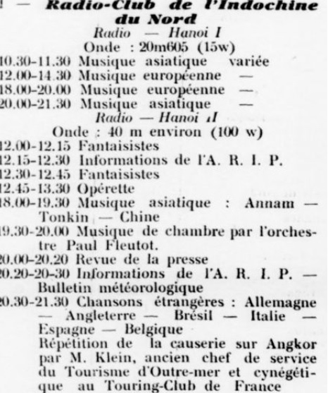 Programmes des stations du radio-Club de l'Indochine du Nord